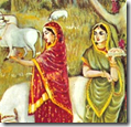 [Wives of the brahmanas offering food]