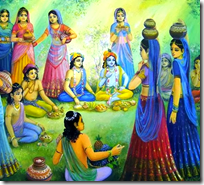 [Krishna and Balarama fed by the wives of the brahmanas]