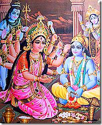 [Shiva and Parvati worshiping Vishnu]