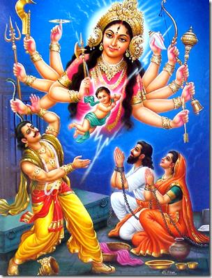 [Durga escaping from Kamsa]