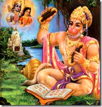 [Hanuman reading and chanting]