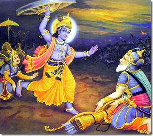 [Krishna charging at Bhishma]