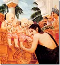 [Prithu Maharaja with four kumaras]