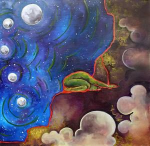 Moon Figure Oil Canvas Painting