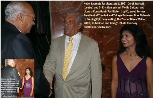 Dr Kris Rampersad hosts Evening Epic with Nobel Laureate Derek Walcott greets President Max Richards