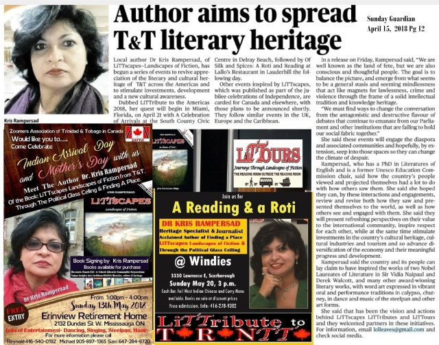 TT Author Dr Kris Rampersad aims to spread literary heritage