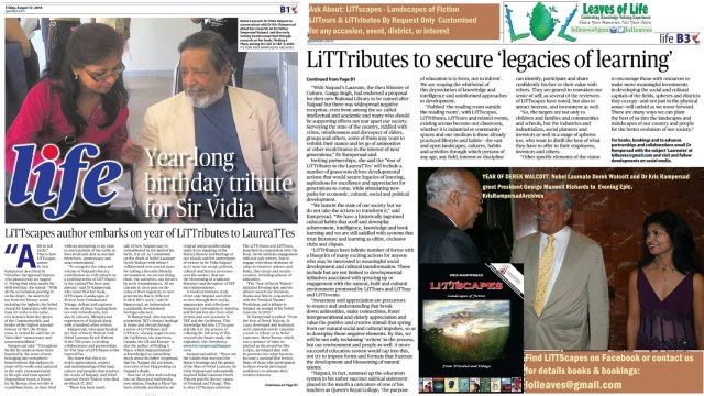 Littribute to Nobel Laureates derek Walcott and sir Vida Naipaul