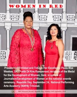 Gold Medal award winner Dr Kris Rampersad and President Paula Mae Weekes