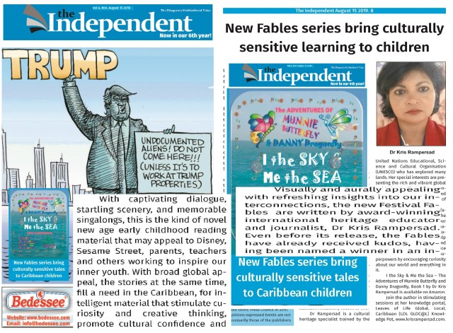 Independent Newspaper, Canada gives front page treatment to Dr Kris Rampersad's I the Sky & Me the Sea, in promoting culture-sensitive education, juxtaposed with cartoon of US President, Donald Trump policy on immigrants