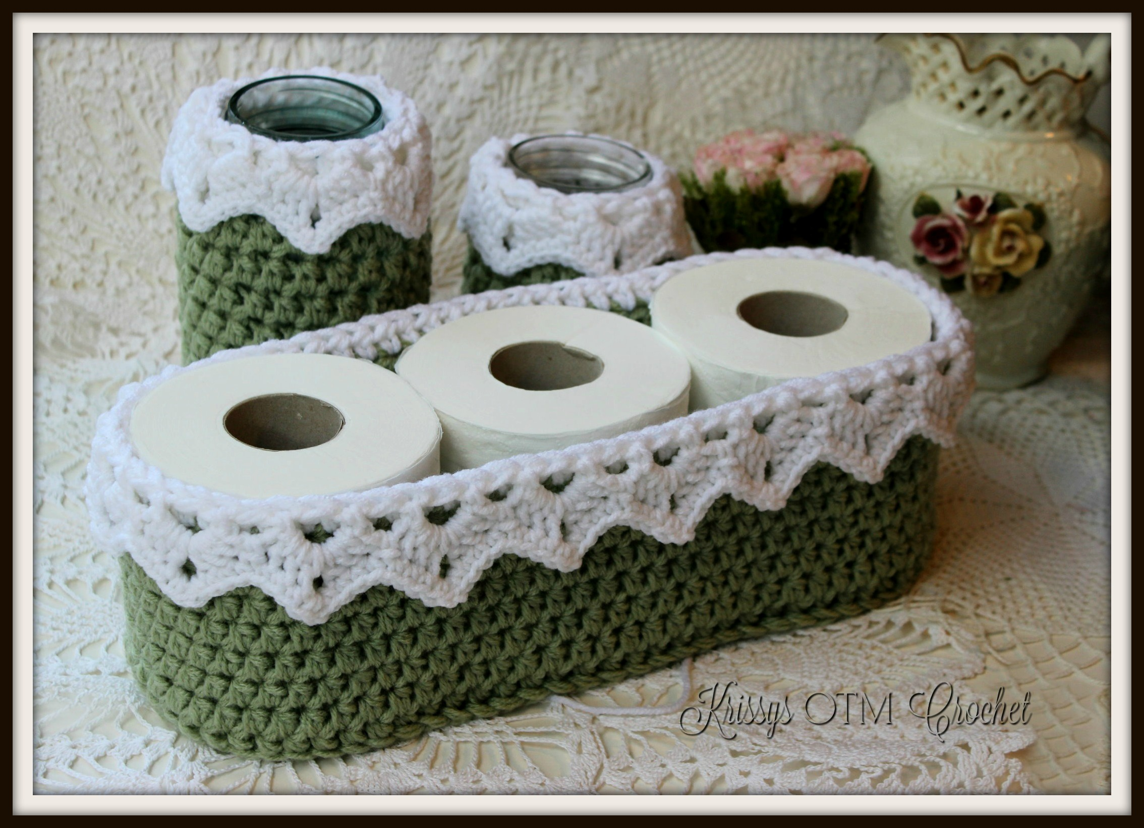 Crochet Basket with Drop Over Lace