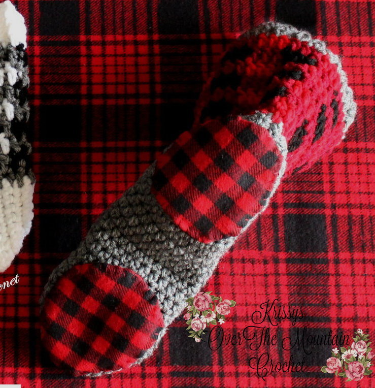 plaid boot sock