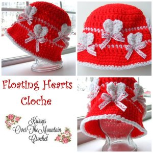 Crochet Floating Hearts Cloche