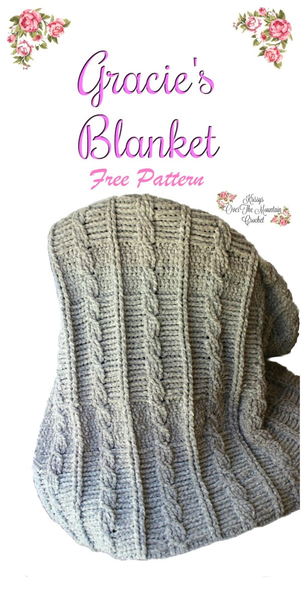 Crochet this cable blanket using velvet yarn. It is just gorgeous! This one is a show stopper and will keep you warm!