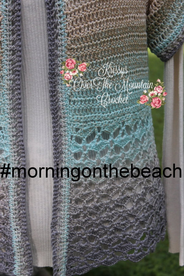 Crochet this sweater so that you be ready for a morning walk on the beach. The shell edging is lovely and this lightweight sweater will be what is needed to keep that little bit of morning chill at bay.