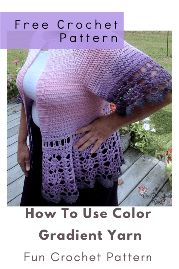 Crochet this lightweight cardi using just one cake of color gradient yarn. You can make this beautiful Mountain Sunrise cardigan using the crochet pattern found on this page. What a beautiful transition piece this is sweater is. It will take you from summer through Fall, and from Spring though the cool Summer nights.