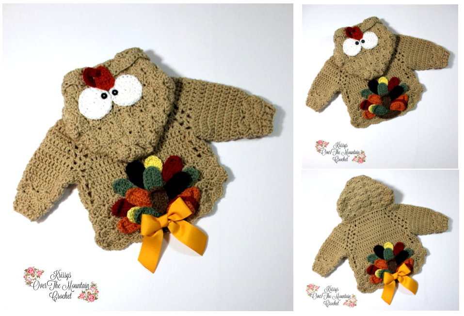 An adorable Turkey Tail pullover. You will love this little sweater without the turkey tail. Such a versatile design.