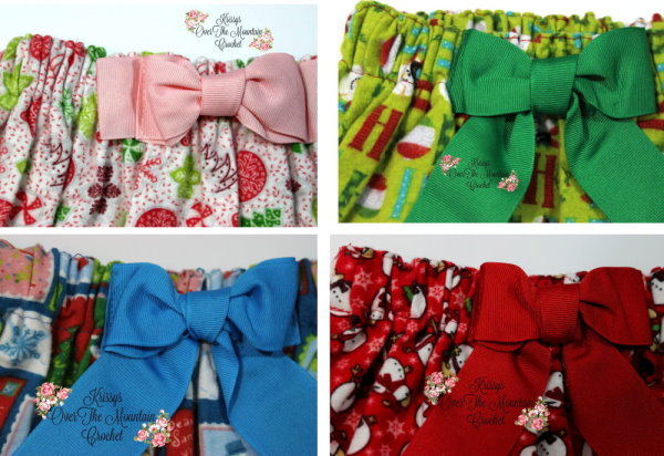 Beautiful pull tie bows have been steamed and pressed into place on the girls' Christmas Skirts.