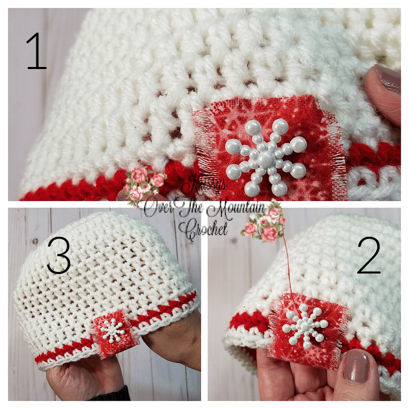 Sew the snowflake button on and you are finished!
