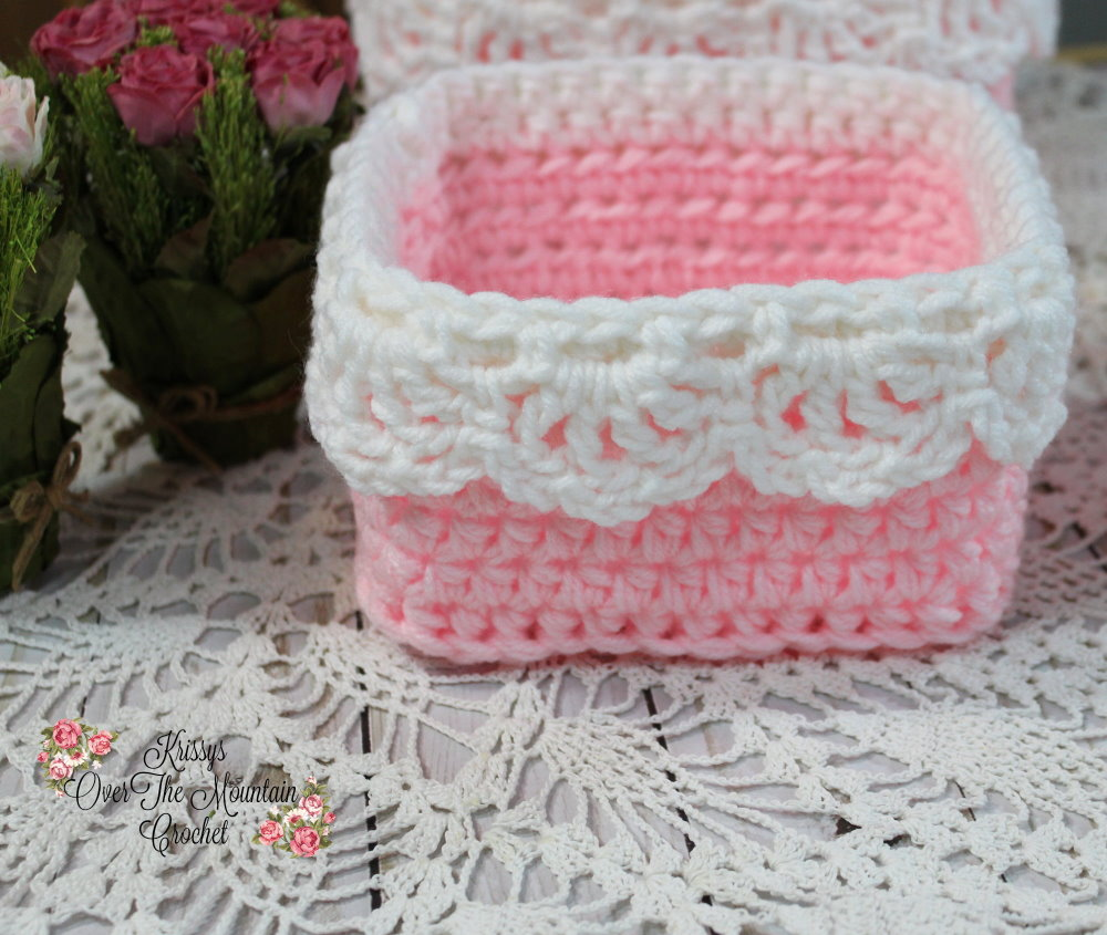 This small square nesting basket is super fast and eat to crochet. It is a compliment to the Large square nesting basket.