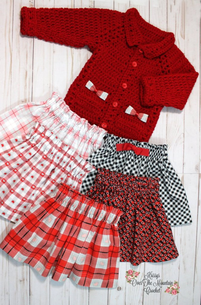 Grab a Valentine's fat quarter bundle to whip up skirts for your little one to match Gracie's Sweater.