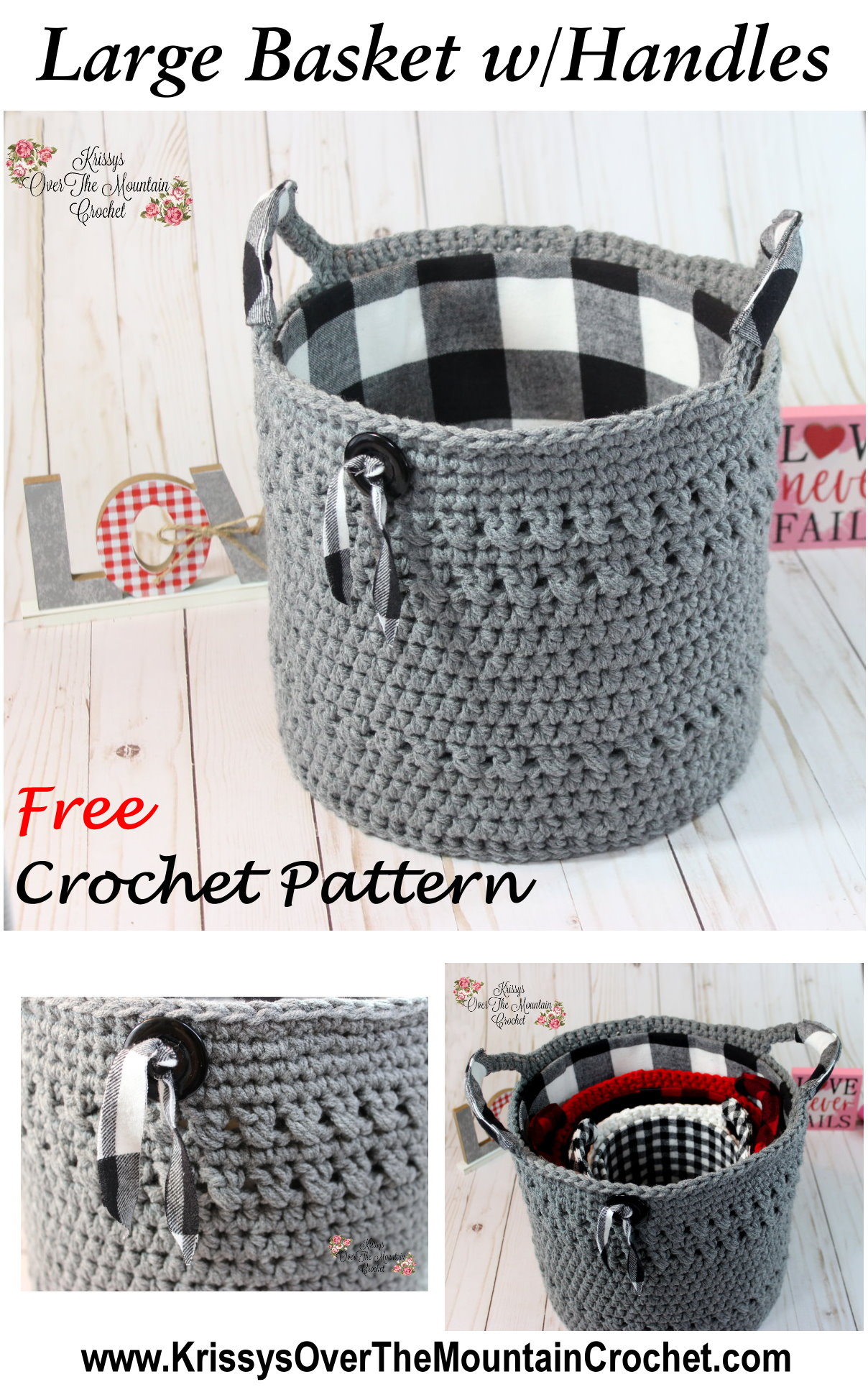 Such a lovely and large crocheted basket. The handles are wrapped in flannel and the vintage button with a bit of matching flannel make it so much fun.