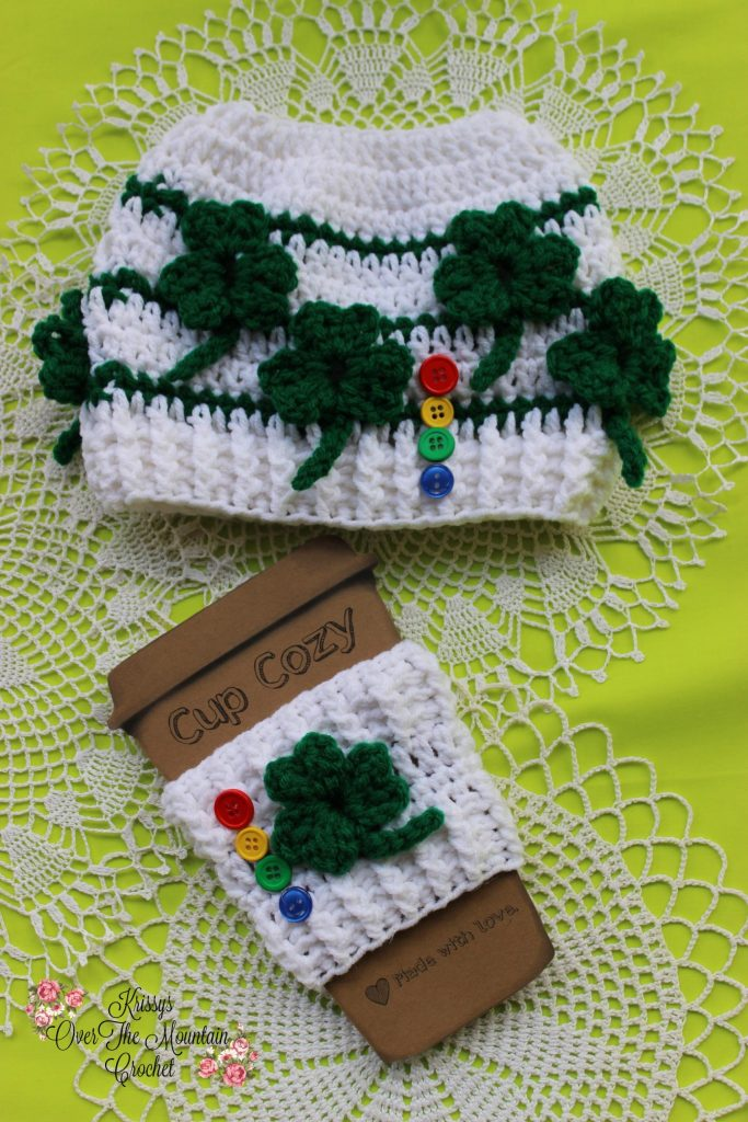 This St. Patrick's Day messy bun hat is fun to crochet. Those shamrocks wrap around the posts of the stitches below. No need to sew on an applique!
