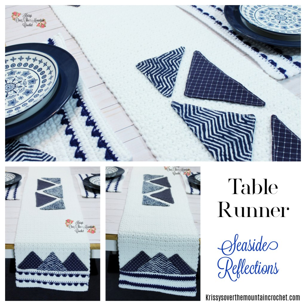 Crochet table runner with fabric embellishments. It is so much fun to make!