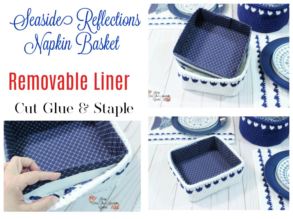 Crochet this square napkin basket and then make a stiff removable liner