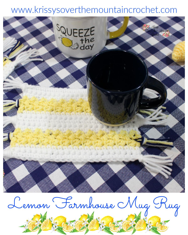 Crochet Farmhouse Mug Rug with a Lemon Theme.