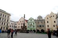 Coloured buildings around square