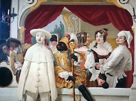Painting: ball attendees, black jester in gold, white jester, and man looking in mirror