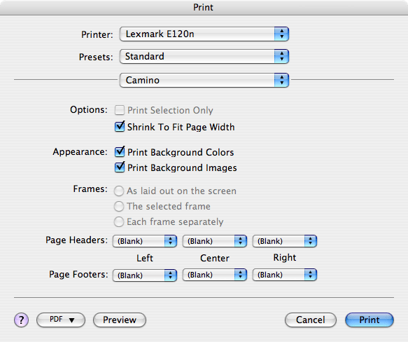 Print Settings for Camino