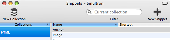 Smultron New Snippets Icons