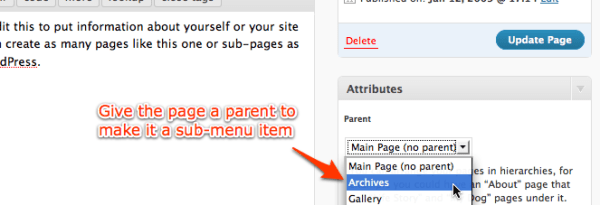 give WordPress page a parent