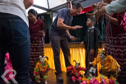 American college students learn the art of Burmese puppetry.