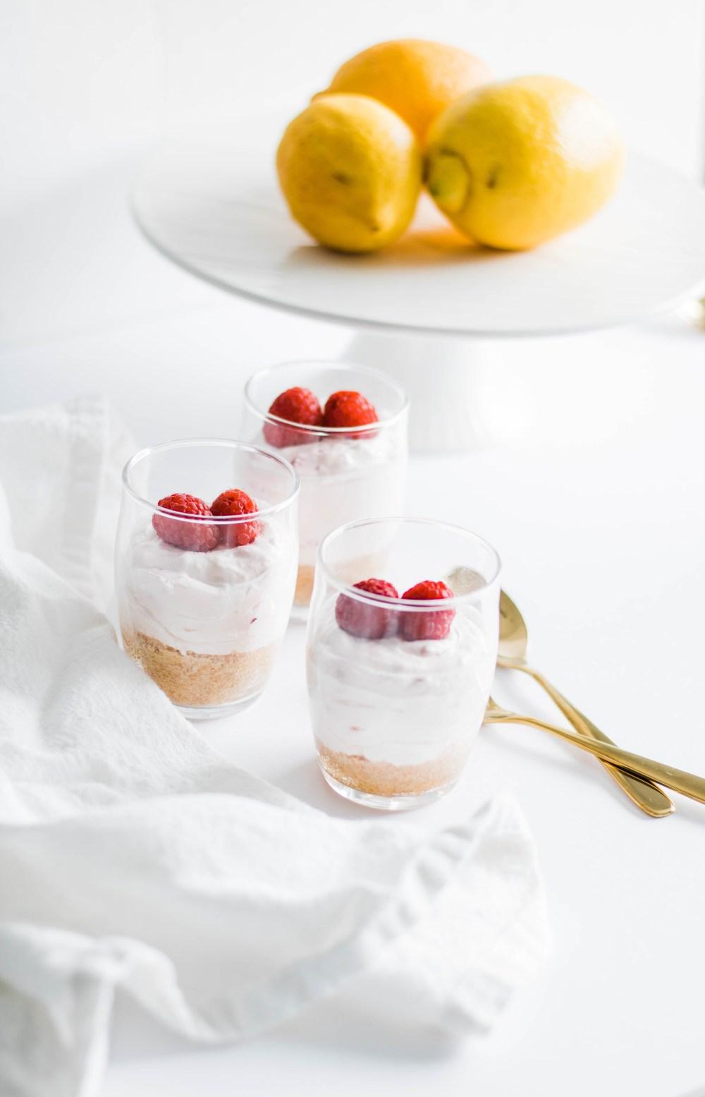 No-Bake Raspberry Lemon Cheesecake Cups #dessert #cheesecake #lemon #foodphotography #nobake