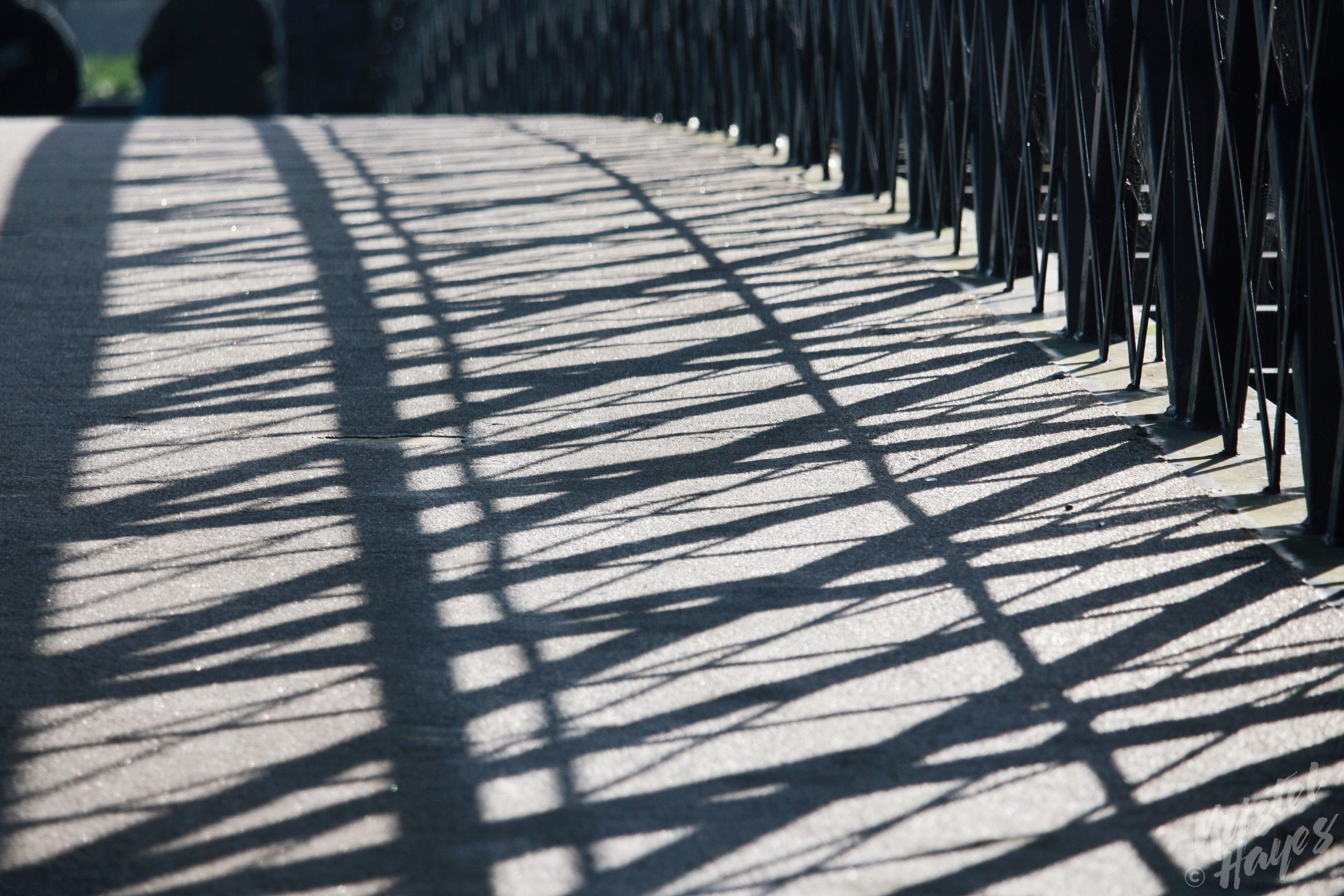Shadows Along Foot Bridge, Carlow-River Barrow, Ireland