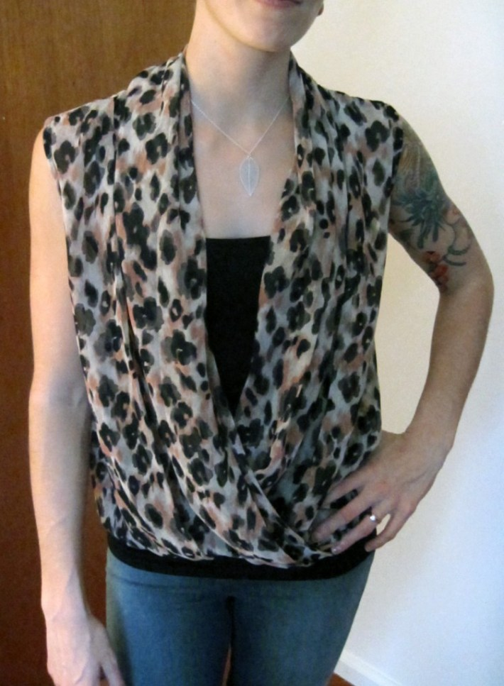 Wintor Leopard Print Cross-Front Blouse