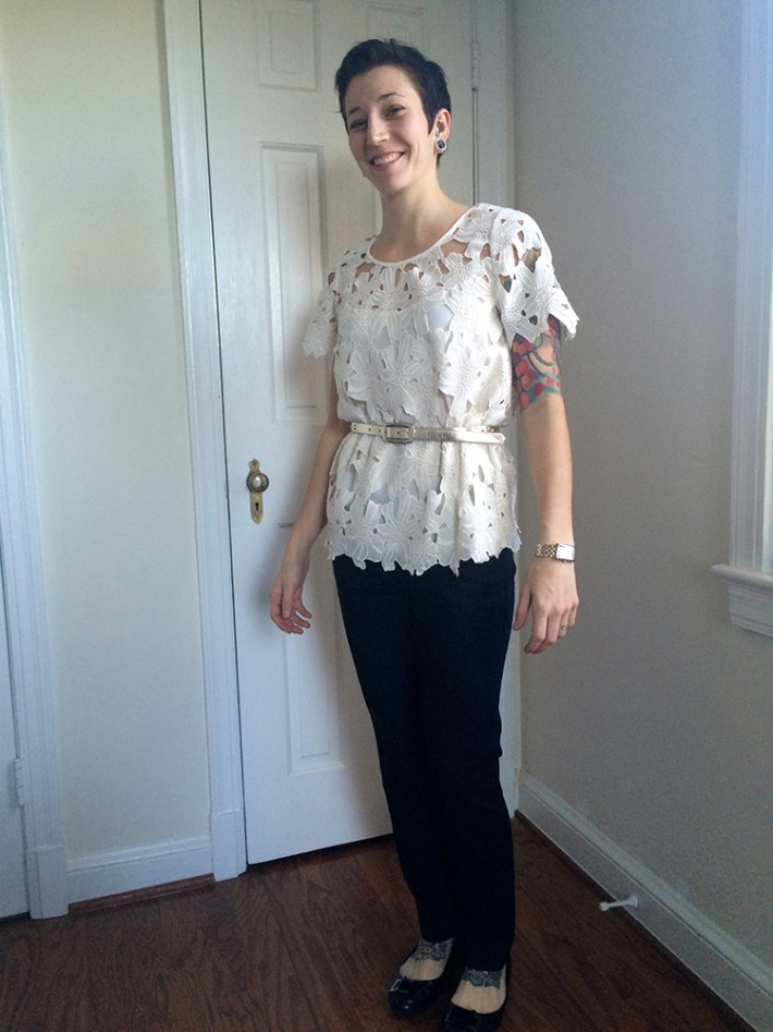 Azurre Lace Overlay Blouse (belted)