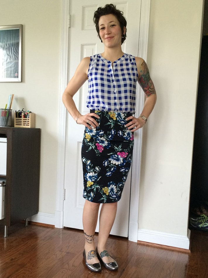 Pixley Panorama Henley Blouse (with pencil skirt)