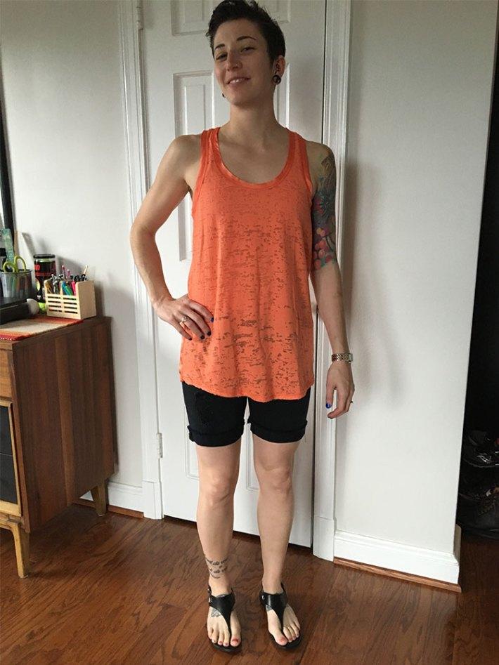 Pixley Pompano Contrast Raw Neckline Knit Top (front)