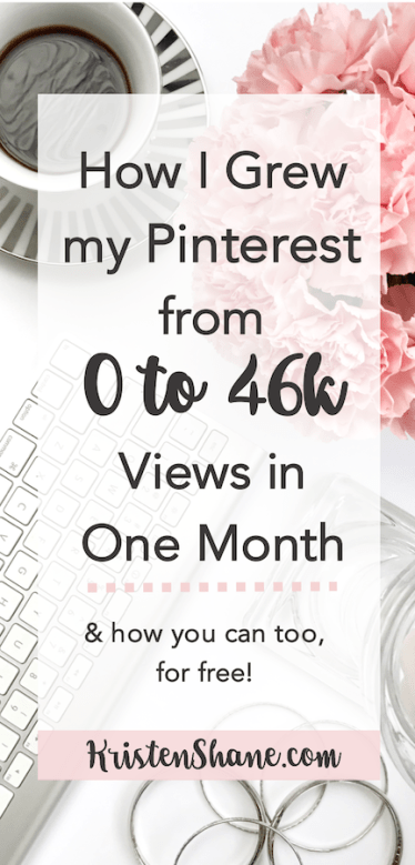 How I Grew my Pinterest from 0 to 46k Views in One Month | KristenShane.com