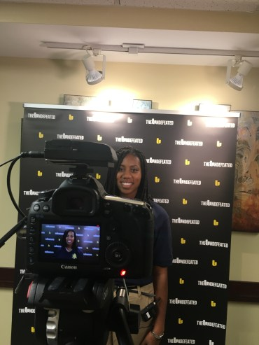 ESPN's The Undefeated Interviews Kristen Shipley after President Obama speaks at NC A&T.