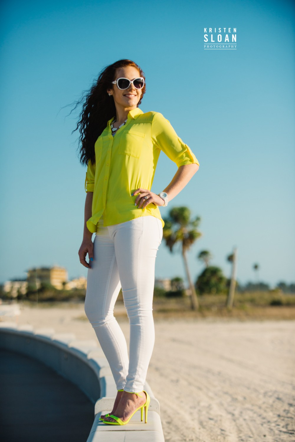 St Pete FL Beach Senior Portrait Photos at Treasure Island Yellow Heels
