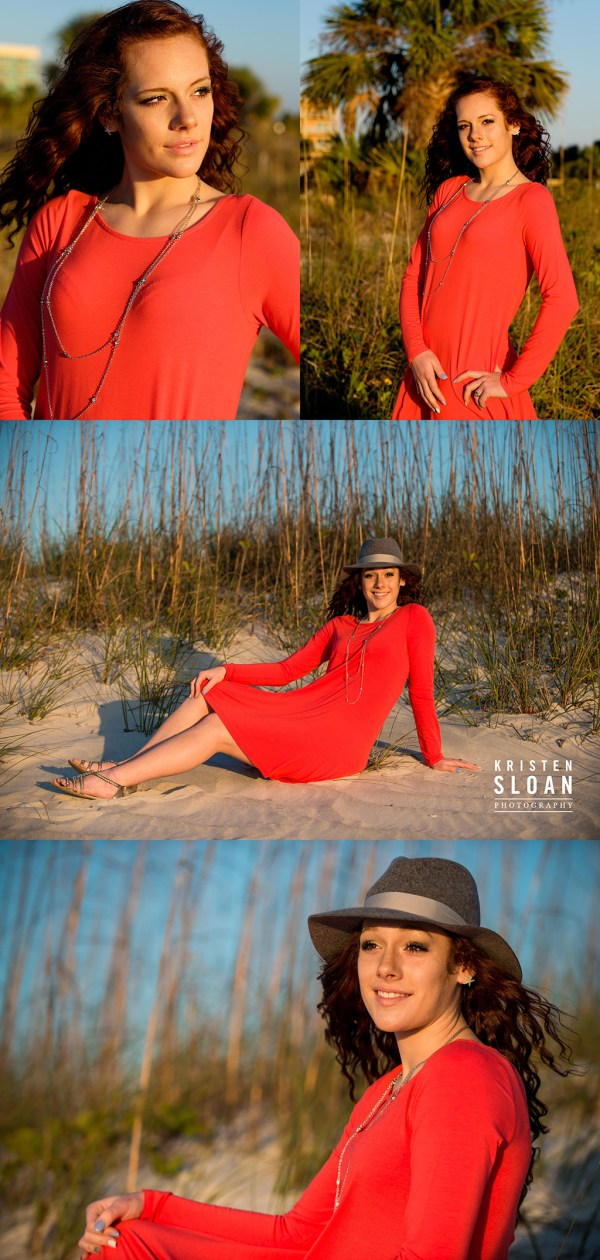 St Pete FL Beach Senior Portrait Photos at Treasure Island Red