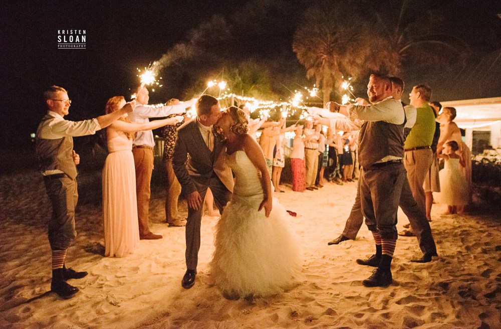 Anna Maria Island Florida Beach Wedding Photographer Kristen Sloan, Sandbar Restaurant Wedding Anna Maria Island, Sparkler Wedding Exit