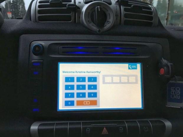 Car2Go welcome screen