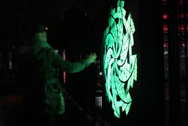 Winter Lights Festival spinning sign