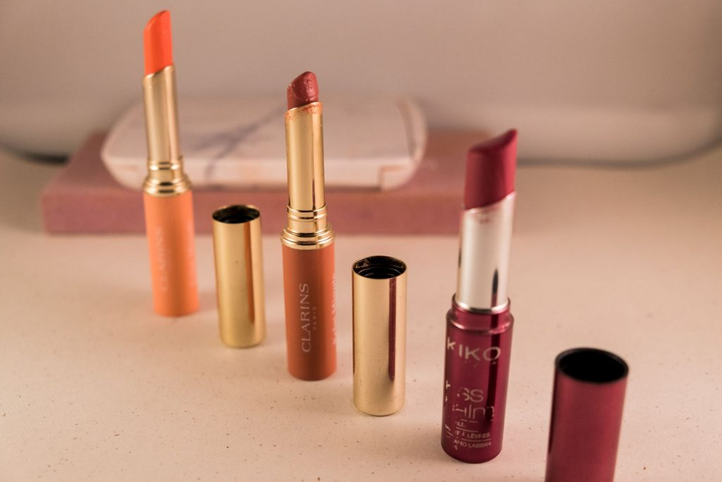 Clarins and Kiko tinted lip balms