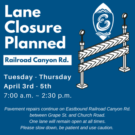 Lane Closure planned